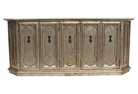 Hollywood Regency Silver-Leaf Cabinet
