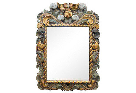 Regency-Style Carved Wood Wall Mirror
