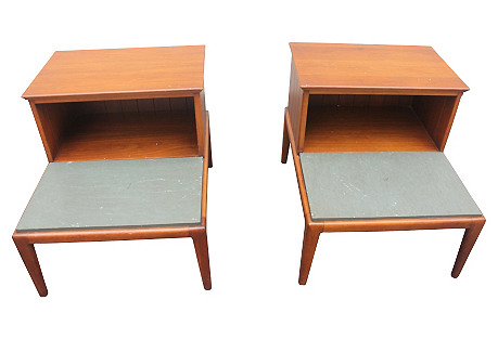 Midcentury Two-Tier Side Tables, Pair