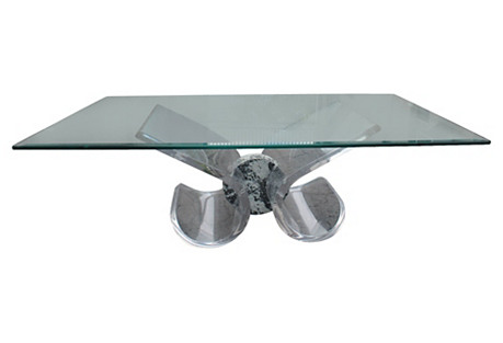 Lucite Base Coffee Table