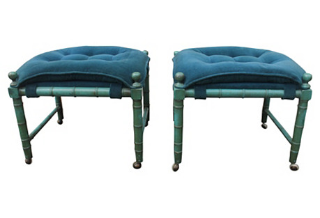 Decorative Faux-Bamboo Benches, Pair