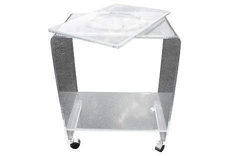 Lucite Swivel-Top Bar Cart