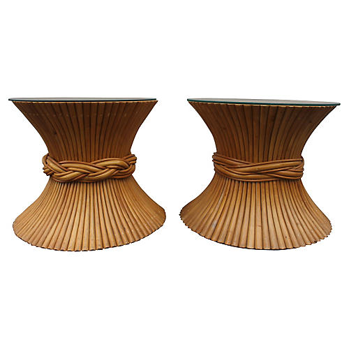 McGuire Sheaf of Wheat Side Tables, Pair
