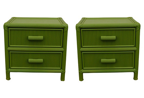 Palm Beach-Style Nightstands, Pair