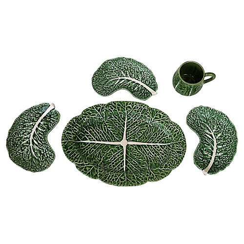Majolica Cabbage Serving Dishes, 5 Pcs