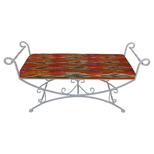 Metal Bench w/ Chenille Cushion