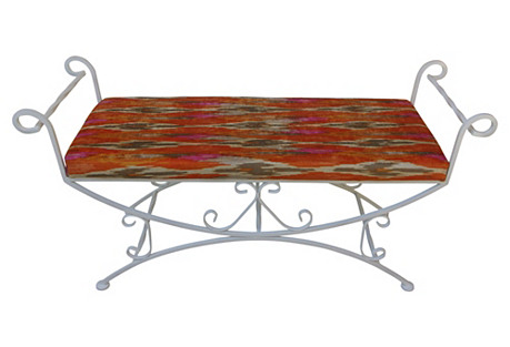 Metal Bench w/ Chenille Cushion