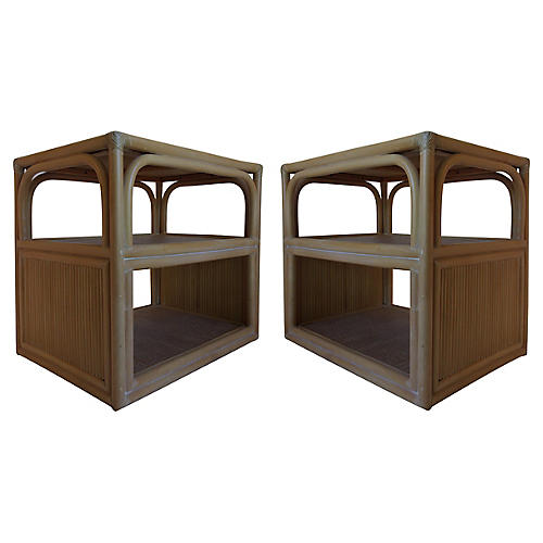 Bamboo Side Tables, Pair
