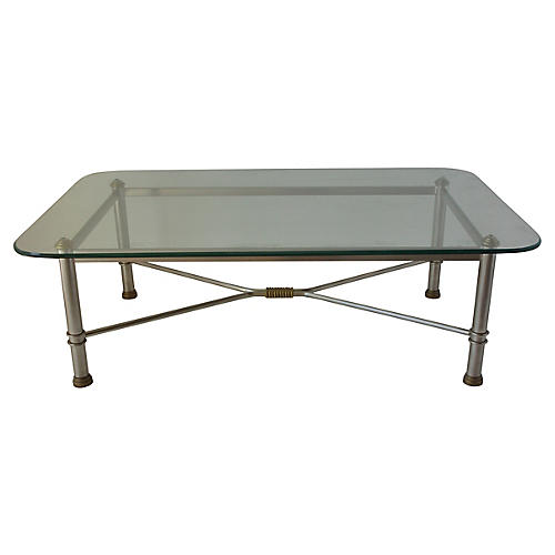 Stainless Steel Glass-Top Coffee Table