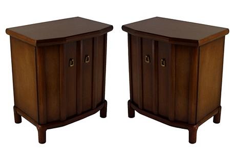 Midcentury Walnut Henredon Tables, Pair