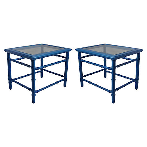 Midcentury Blue Lacquered Tables, Pair