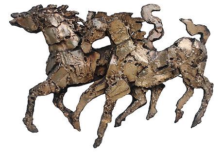 Brutalist Horse Wall Sculpture