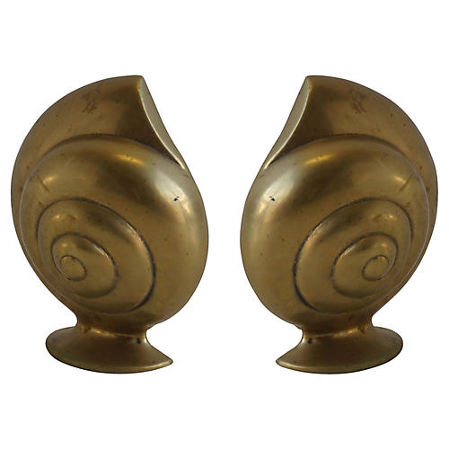Solid Brass Shell Bookends Pair