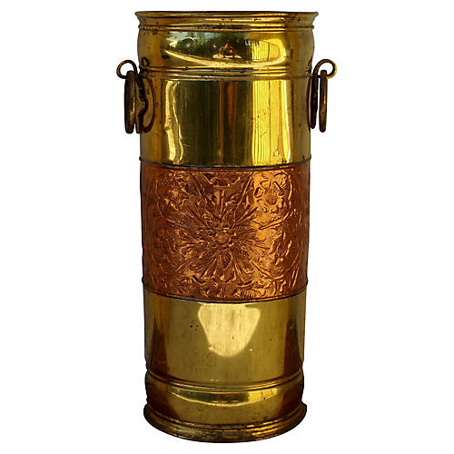 Brass & Copper Umbrella Stand