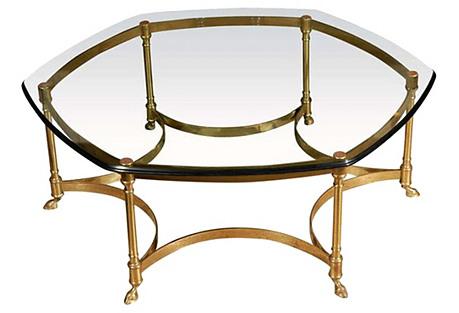 Maison Jansen-Style Brass Coffee Table