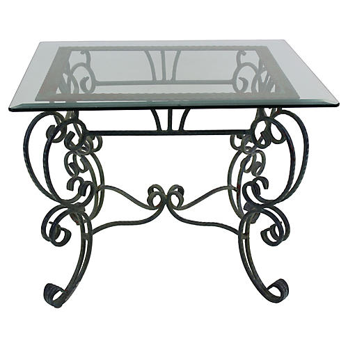 Metal Scroll Side Table w/ Glass Top