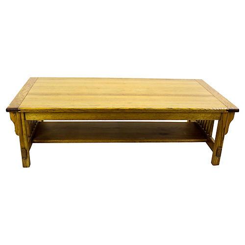 Midcentury Oak Two-Tier Coffee Table