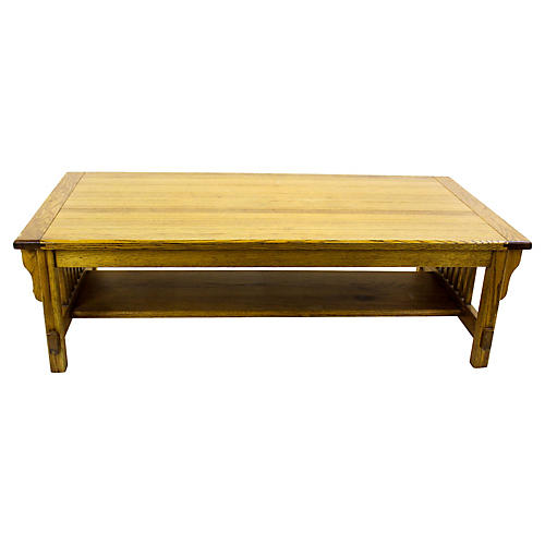 Midcentury Oak Two-Tier Coffee Table