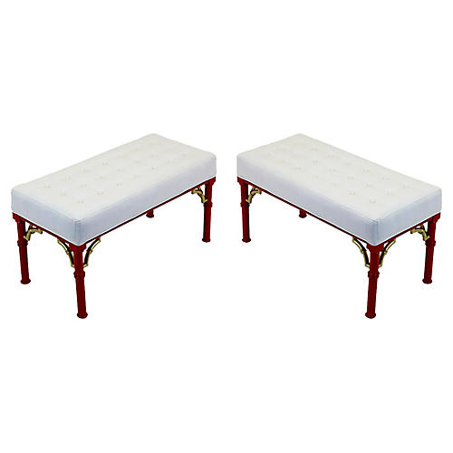 Midcentury Coral-Red Benches, Pair