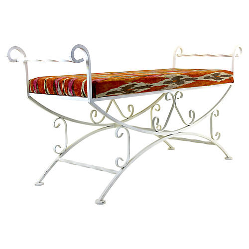 Metal Patio Upholstered Bench