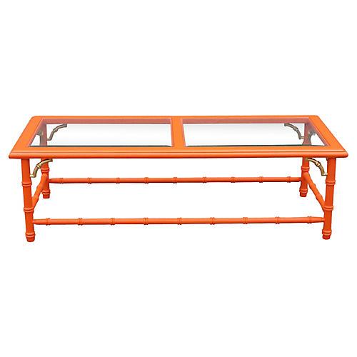 Orange Faux-Bamboo Coffee Table