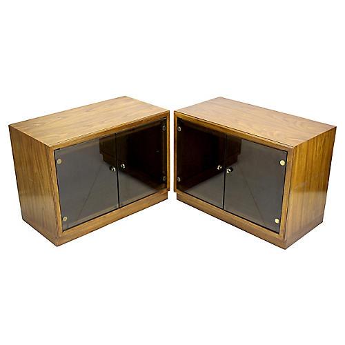 Midcentury Walnut Display Cabinets, Pair