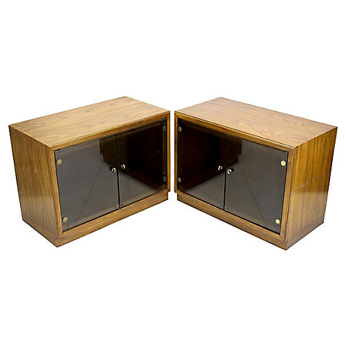 Midcentury Walnut Display Cabinets, Pair