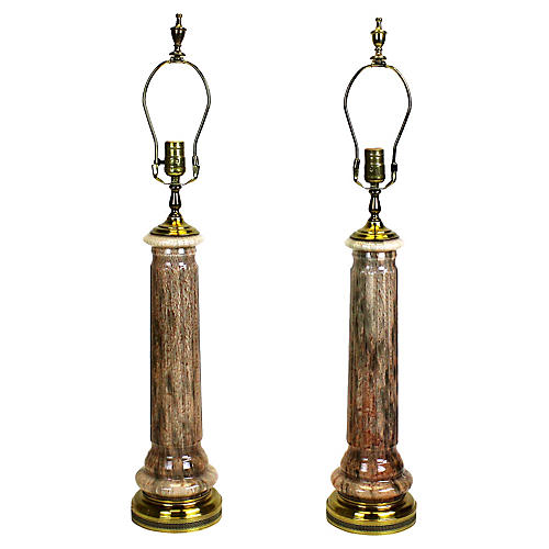 Midcentury Glass Lamps w/ Brass Fittings