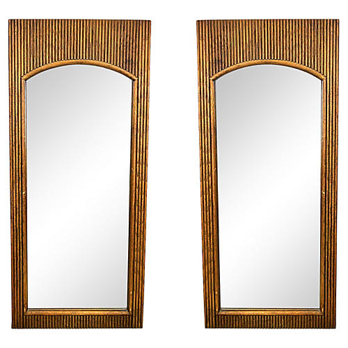 Pair of Midcentury Walnut Reeded Mirror