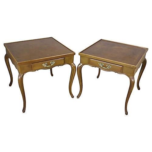 Midcentury Leather-Top Side Tables, Pair