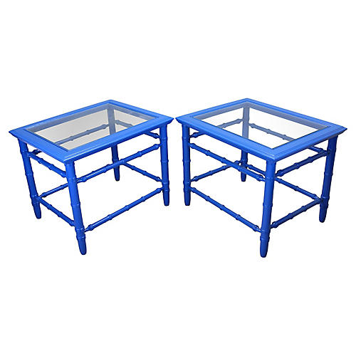 Midcentury Royal Blue Side Tables, Pair