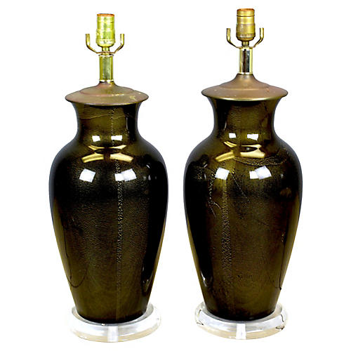 Midcentury Black Table Lamps, Pair