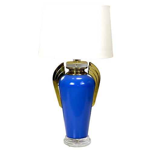 Midcentury Cobalt Blue Deco Lamp