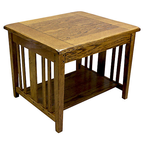 Oak 2-Tier Side Table