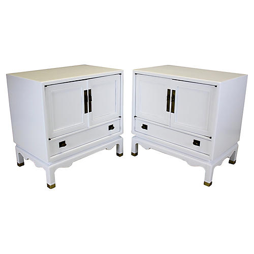 White Lacquered Nightstands, Pair