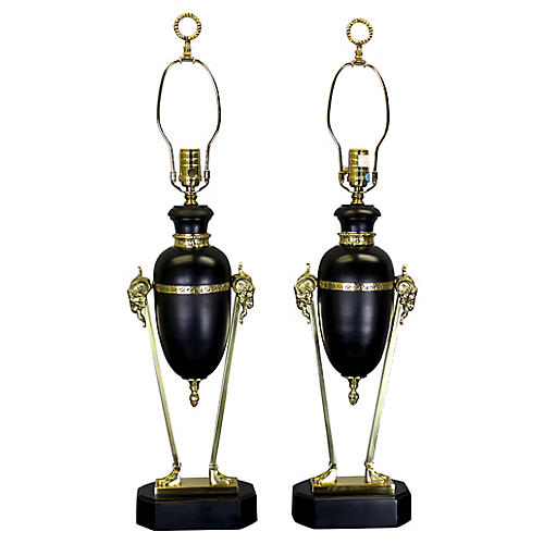 Brass Rams Table Lamps - a Pair