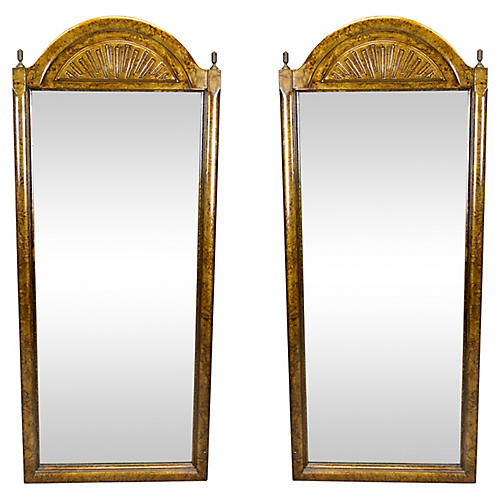 Tortoise-Wood Mirrors, Pair