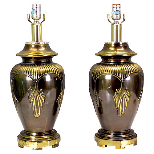 Midcentury Ginger Jar Table Lamps, Pair