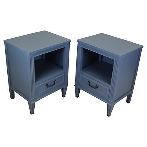 Midcentury Blue Nightstands, Pair