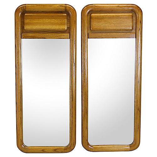 Mid Century Pair of Oak Mirrors