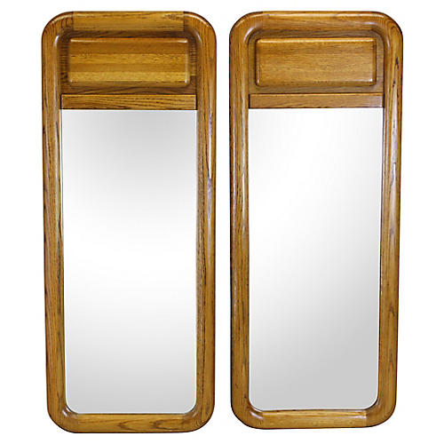 Mid Century Pair of Oak Mirrors