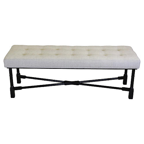 Black Lacquered Wood & Chenille Bench