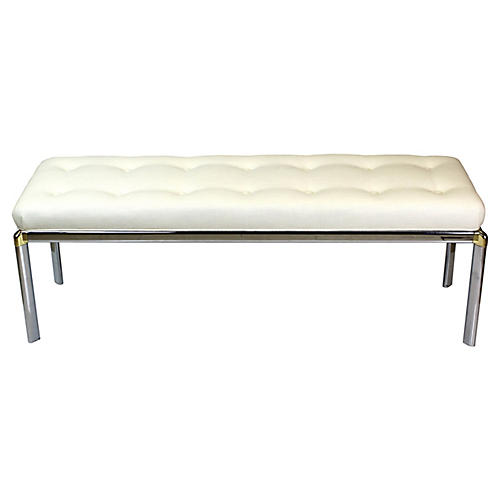 Mid-Century Chrome Bench w/ Linen