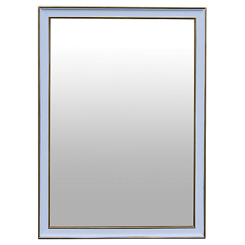 Midcentury White Lacquered Mirror