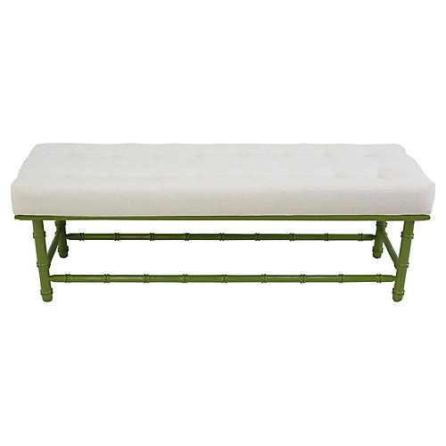 Midcentury Green Faux-Bamboo Bench