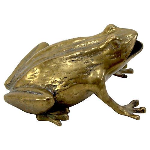 Brass Frog Ashtray