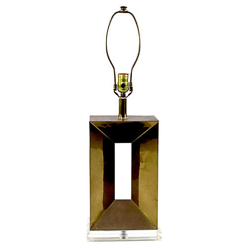 Brass Table Lamp on Lucite Base