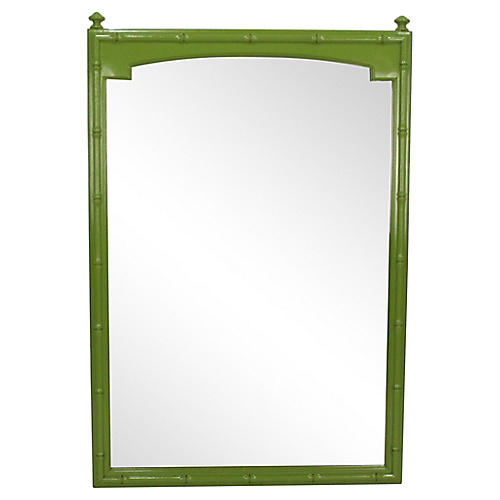 Apple Green Faux-Bamboo Mirror