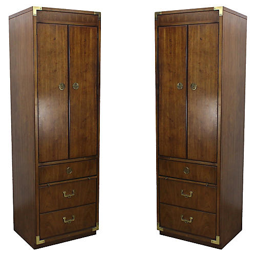 Campaign-Style Cabinets, Pair