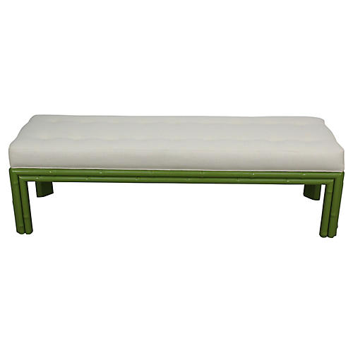 Midcentury Apple Green Faux-Bamboo Bench
